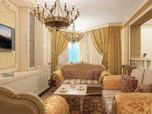 Барокко в дизайне гостиной 18 квадратов