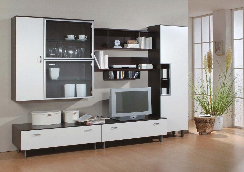 Бело-черная горка стенка в дизайне гостиной