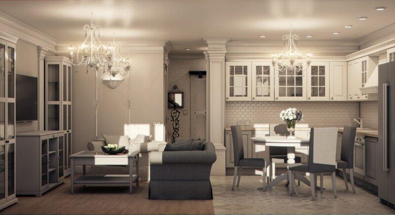 Бело-серая кухня гостиная 20 квадратов
