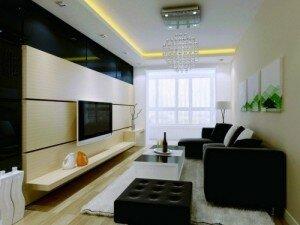 Черная мебель в дизайне гостиной 18 кв м