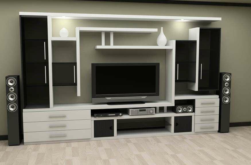 Черно-белая стенка горка в гостиной