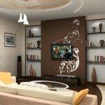 Дизайн гостиной 18 кв м с панно под телевизор