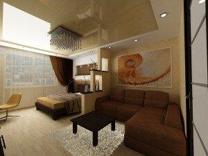 Дизайн гостиной 18 кв м со спальной зоной
