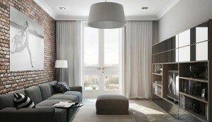 Дизайн гостиной 18 квадратов с кирпичной стеной