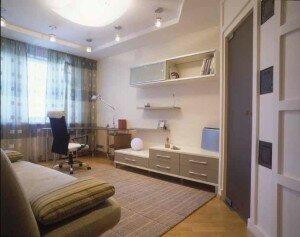 Дизайн гостиной 18 квадратов с рабочим уголком