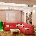 Дизайн гостиной 18 квадратов с розовым диваном