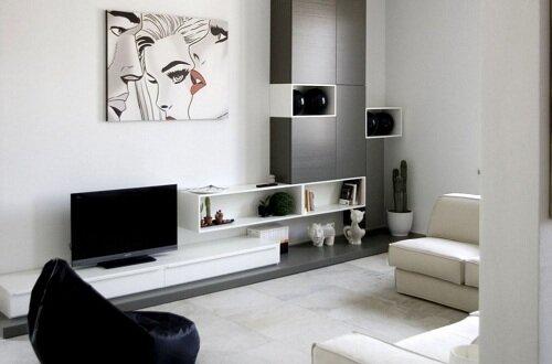 Дизайн гостиной комнаты в хрущевке в черных и белых тонах