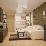 Дизайн гостиной с двумя потолочными светильниками