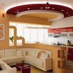Дизайн гостиной со сложной потолочной конструкцией
