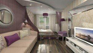 Дизайн гостиной со спальным местом 18 кв м
