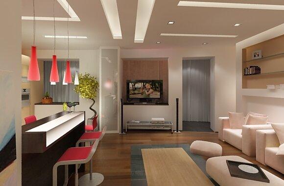 Дизайн интересной гостиной с кухней 30 кв м фото