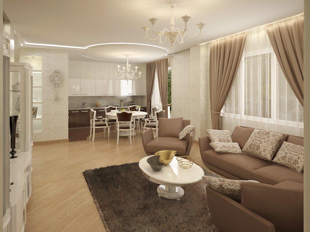 Дизайн кухни-гостиной 30 кв м фото