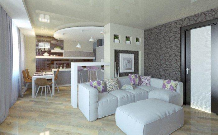 Дизайн кухни совмещенной с гостиной фото 30 кв.м