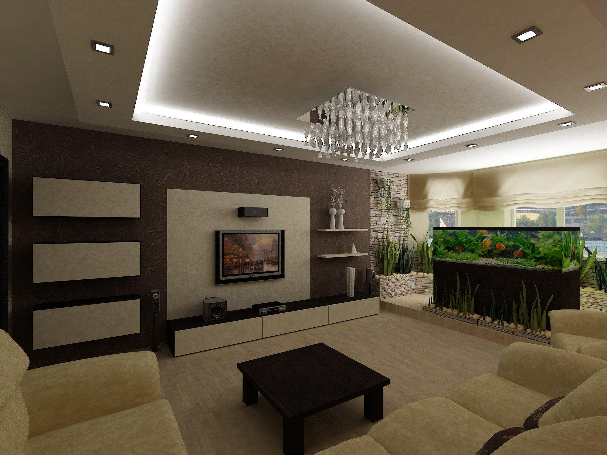 Дизайн кухни гостиной с аквариумом 30 кв м на фото