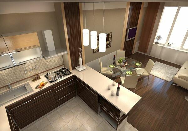 Дизайн кухни и обеденной зоны в помещении 30 кв м - фото