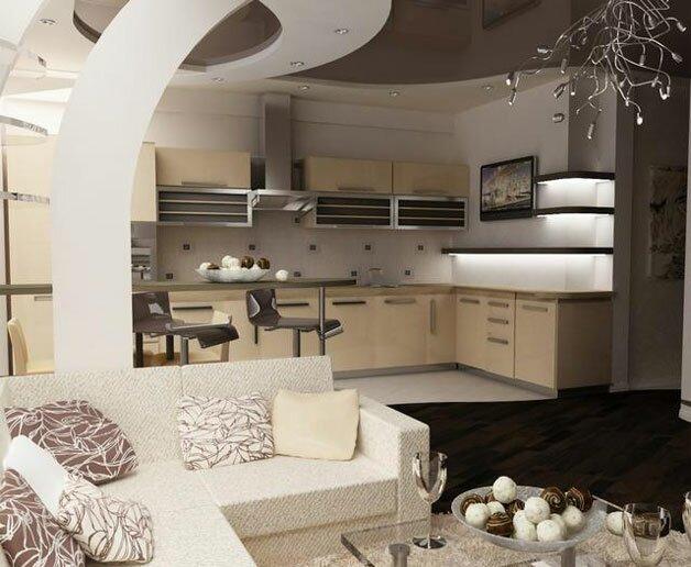 Дизайн на фото кухни гостиной 30 кв м