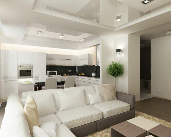 Дизайн совмещенной кухни гостиной 30 квадратов на фото