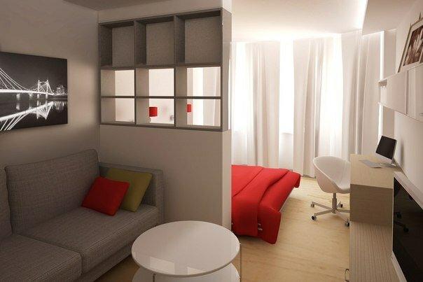 Дизайн спальни гостиной в светлых тонах