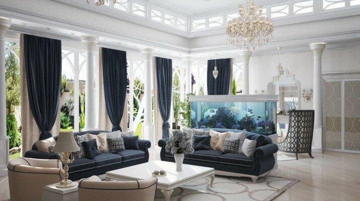 Фото гостиной в частном доме с аквариумом