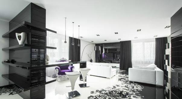 Интерьер черно белой гостиной