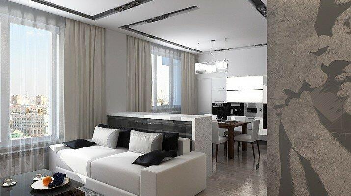 Фото кухни гостиной 30 кв м - дизайн интерьера