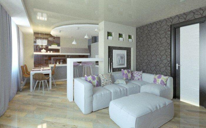 Белая гостиная с кухней фото дизайна на 30 кв м