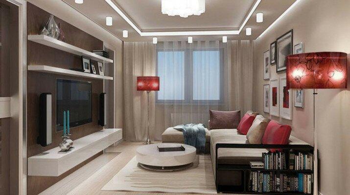 Дизайн гостиной 20 кв м