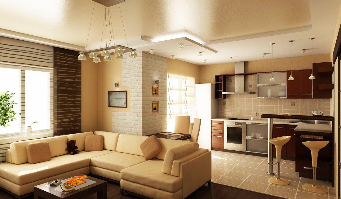 Гармония гостиной с кухней в дизайне 30 квадратов фото