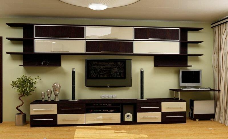 Горка стенка в дизайне гостиной