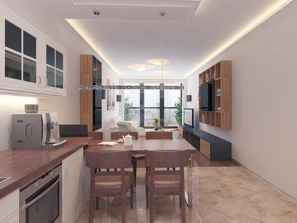 Гостиная кухня в узком помещении 30 кв м дизайн фото