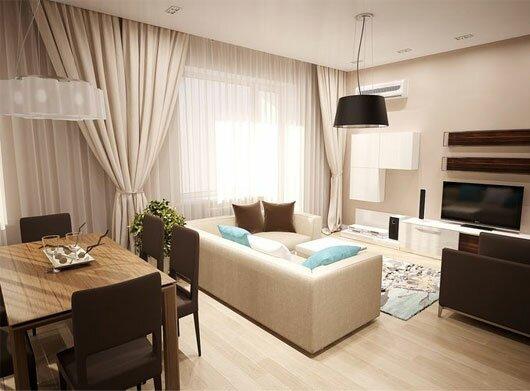Гостиная с кухонной зоной в дизайне 30 кв м на фото