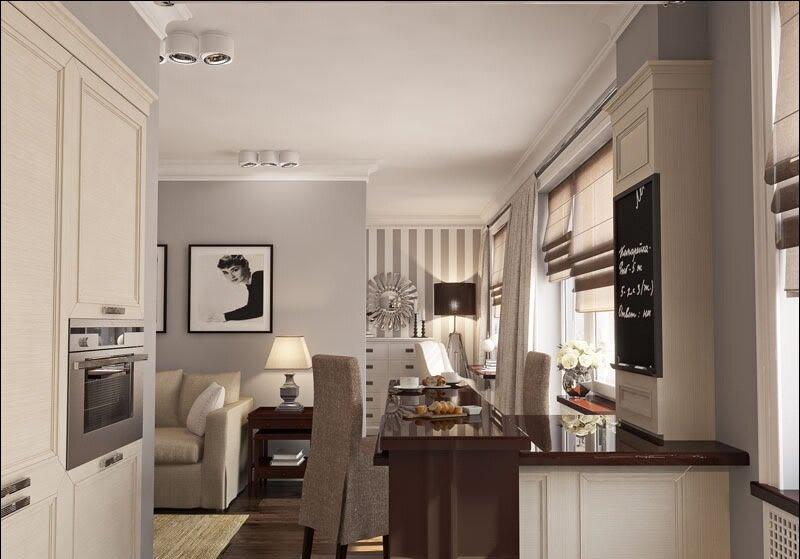 Гостиная совмещенная с кухней 20 кв м