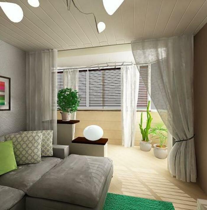Интерьер дизайн гостиной, совмещенной с балконом