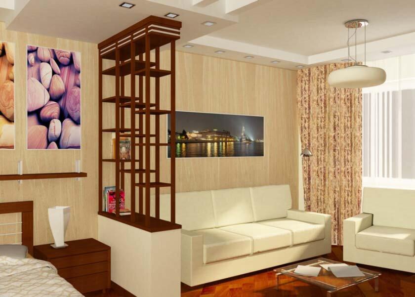 Интерьер совмещенных спальни и гостиной в хрущевке