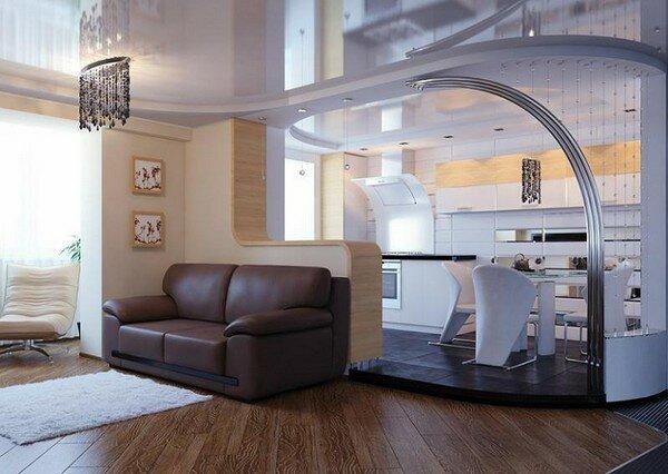 Интересная гостиная с кухней на 30 квадратах фото дизайн