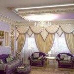 Классический стиль штор для гостиной, фото идеи