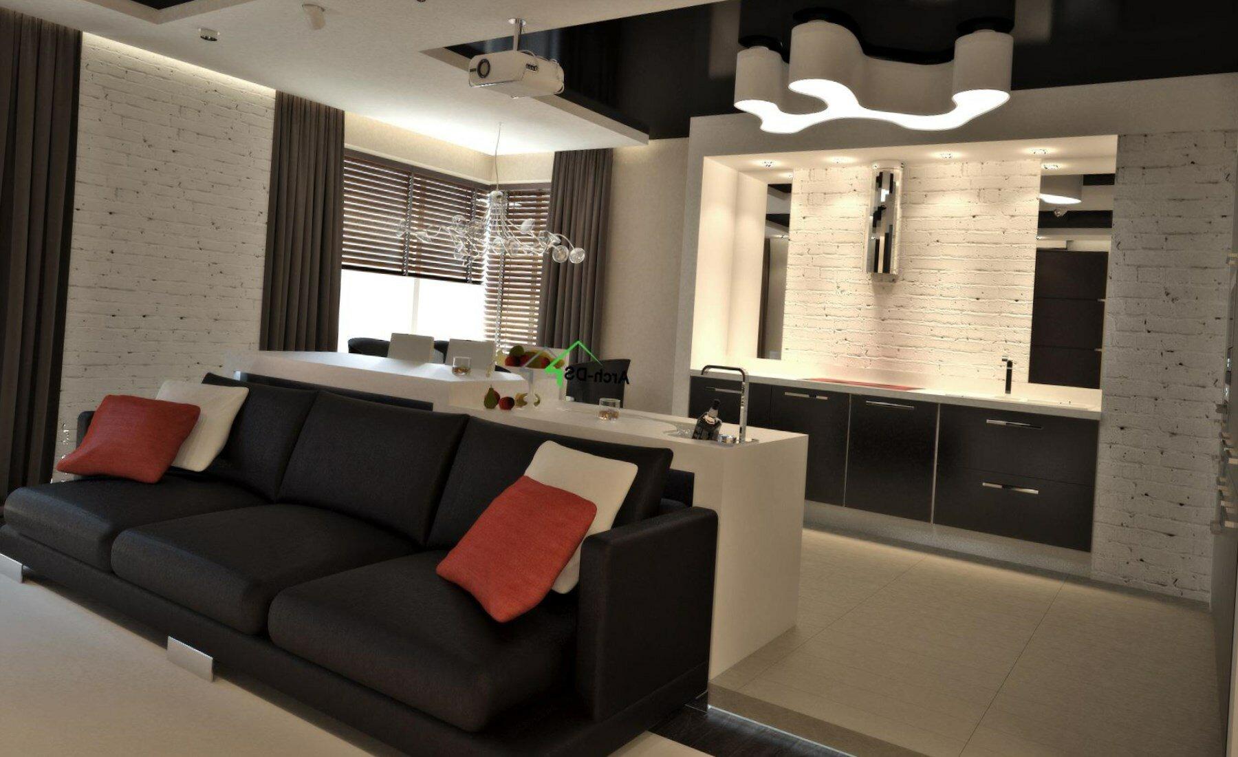 Кухня гостиная 20 кв м с черным диваном