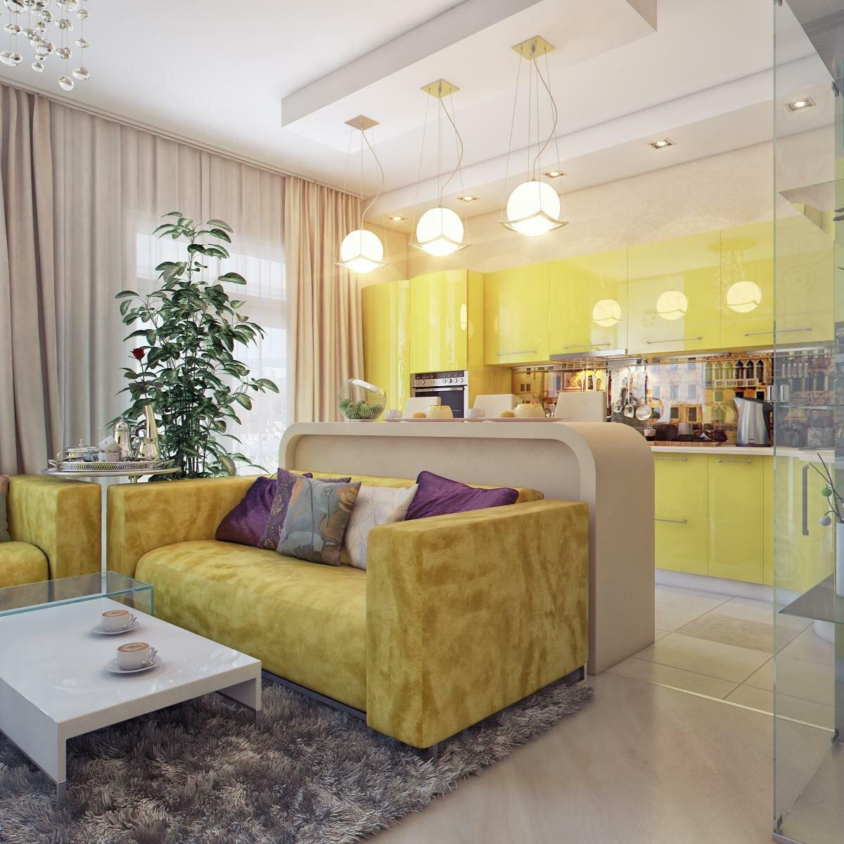 Кухня гостиная 20 квадратов в желтом цвете