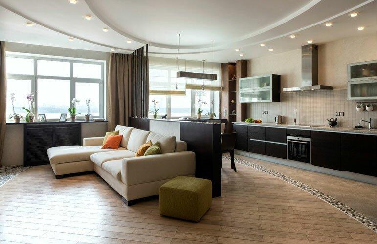 Кухня гостиная 30 кв м - дизайн на фото