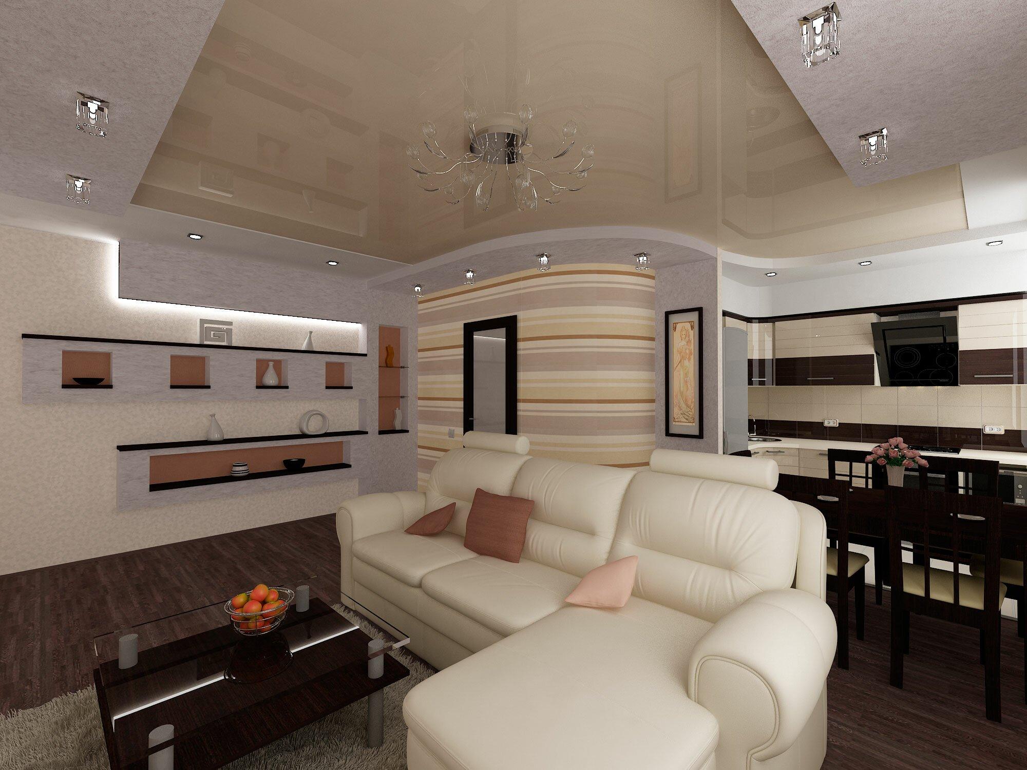 Кухня гостиная с белым диваном 20 квадратов
