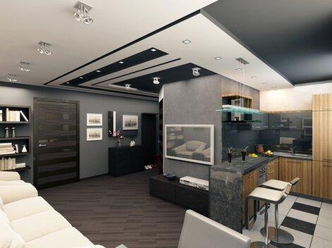 Кухня гостиная студио 30 квадратов - дизайн на фото