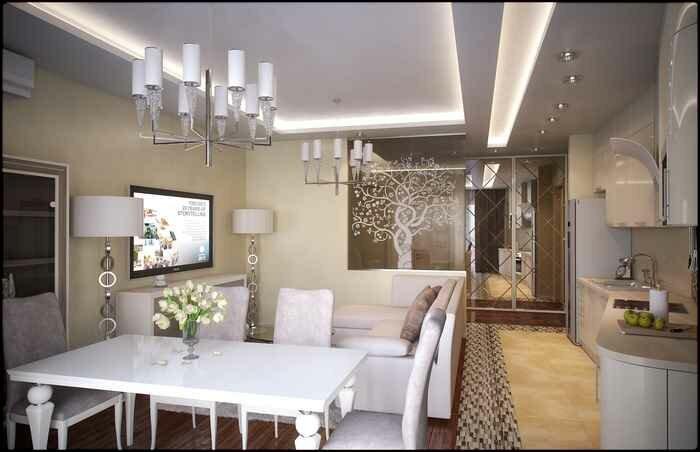 Кухня гостиная в белом цвете на 20 кв м