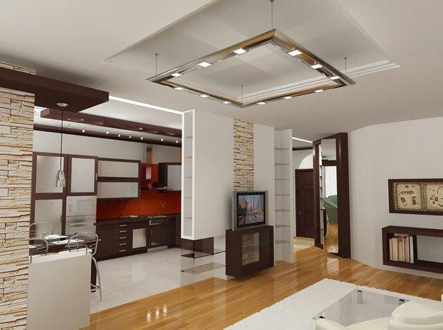 Кухня с гостиной - фото дизайна на 30 квадратах