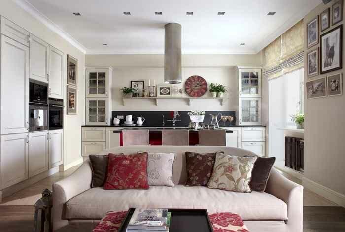 Кухня в помещении с гостиной на 30 квадратах- фото дизайна
