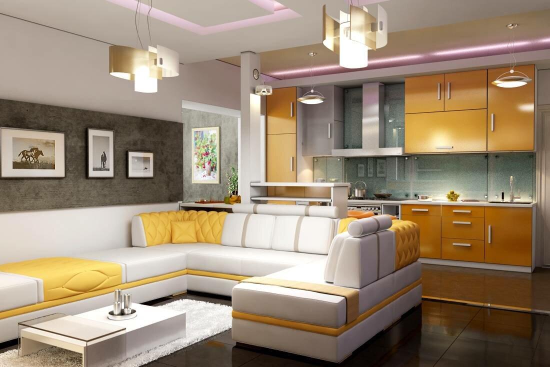 Кухня во всю стену, в гостиной угловой диван