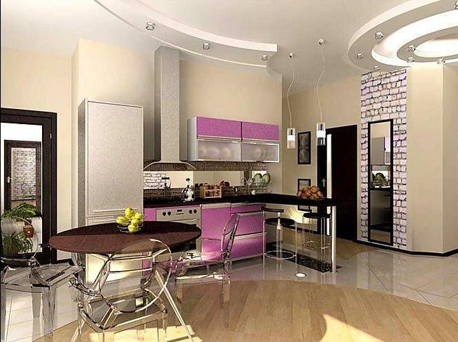 Нержавеющие элементы в дизайне кухни гостиной