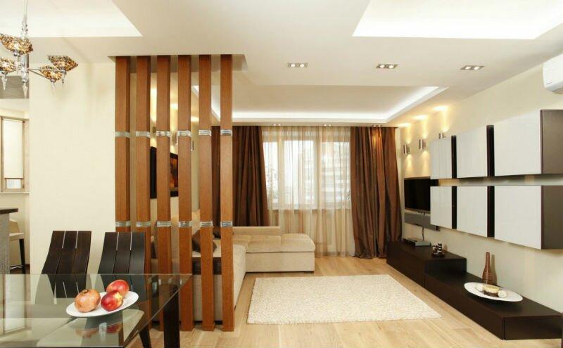 Перегородка из дерева между кухней и гостиной 20 кв м