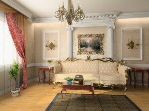 Рококо в дизайне гостиной 18 кв м