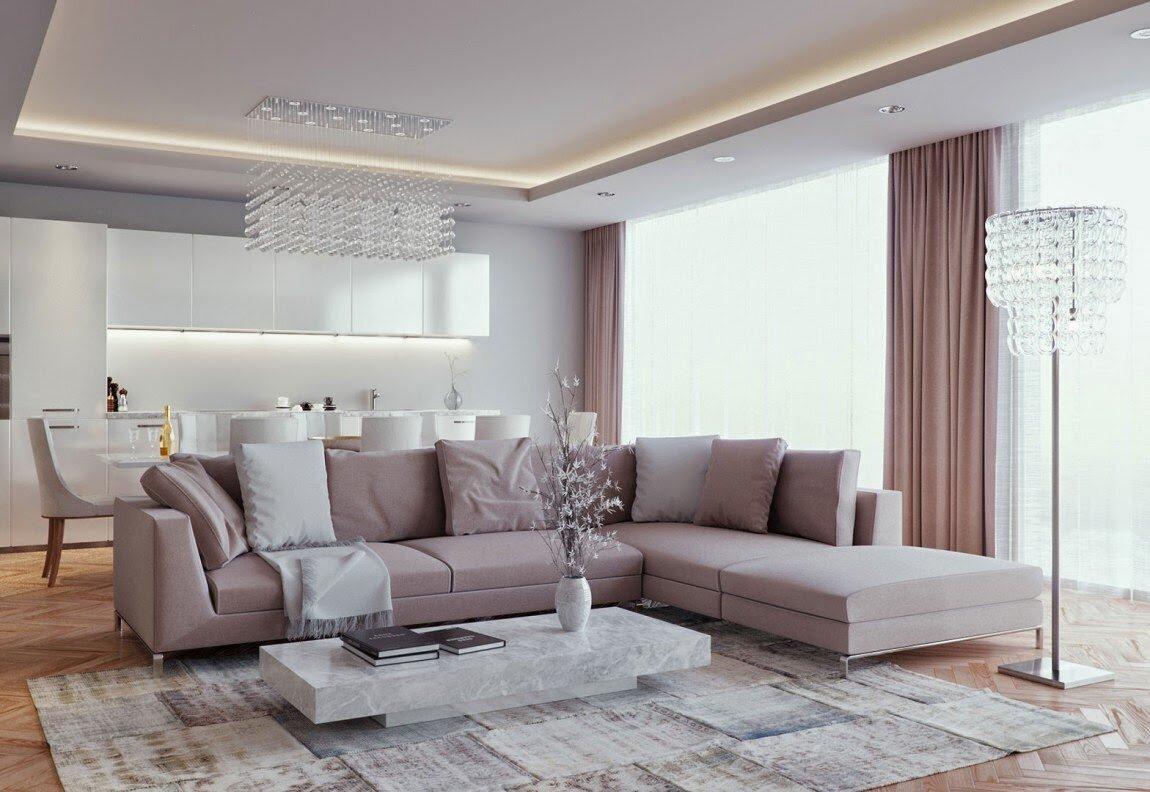 Роскошная гостиная с кухней в фото дизайне 30 кв м