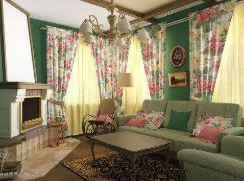 Розовые тона в гостиной в стиле прованс
